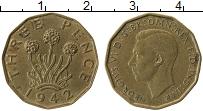 Изображение Монеты Великобритания 3 пенса 1942 Латунь XF Георг VI