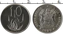 Изображение Монеты ЮАР 10 центов 1985 Медно-никель UNC- Цветы