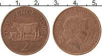 Изображение Монеты Гернси 2 пенса 2006 Бронза XF+ Корова.Елизавета II
