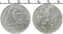 Изображение Монеты Чехословакия 100 крон 1948 Серебро UNC- 30 - летие Республик