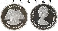 Изображение Монеты Остров Святой Елены 25 пенсов 1977 Серебро Proof-