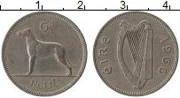 Изображение Монеты Ирландия 6 пенсов 1966 Медно-никель XF