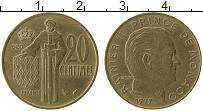Изображение Монеты Монако 20 сентим 1977 Латунь XF