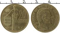 Изображение Монеты Монако 20 сентим 1978 Латунь XF Раньер III