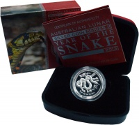 Изображение Подарочные монеты Австралия 1 доллар 2013 Серебро Proof Год Змеи. Оригинальн