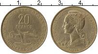 Изображение Монеты Франция Афарс и Иссас 20 франков 1968 Латунь XF