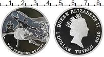 Изображение Монеты Тувалу 1 доллар 2010 Серебро Proof Елизавета II. Спящая