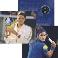 Изображение Подарочные монеты Швейцария 20 франков 2020 Серебро UNC Роджер Федерер. Сере