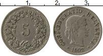 Изображение Монеты Швейцария 5 рапп 1902 Медно-никель XF