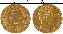 Изображение Монеты Бельгия 20 франков 1865 Золото XF- Леопольд I (КМ# 23 П