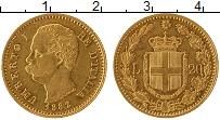 Изображение Монеты Италия 20 лир 1882 Золото XF Умберто I (KM# 21 Пр