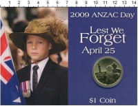 Изображение Подарочные монеты Австралия 1 доллар 2009 Латунь UNC