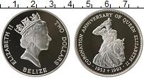 Изображение Монеты Белиз 2 доллара 1993 Серебро Proof- Елизавета II. 40 лет