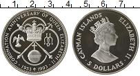 Изображение Монеты Каймановы острова 5 долларов 1993 Серебро Proof 40 лет коронации кор