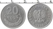 Изображение Монеты Польша 20 грош 1949 Алюминий XF