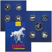 Изображение Подарочные монеты Швеция Сказки Астрид Линдгрен 2002  Proof В набор входят восем
