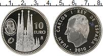 Изображение Монеты Испания 10 евро 2010 Серебро Proof- Антонио Гауди, Сагра