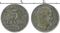 Изображение Монеты Дания Датская Вест-Индия 3 цента 1859 Серебро XF