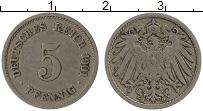 Изображение Монеты Германия 5 пфеннигов 1901 Медно-никель XF G