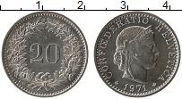 Изображение Монеты Швейцария 20 рапп 1971 Медно-никель UNC