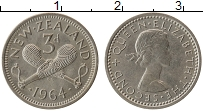 Изображение Монеты Новая Зеландия 3 пенса 1964 Медно-никель UNC-