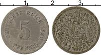Изображение Монеты Германия 5 пфеннигов 1890 Медно-никель VF J