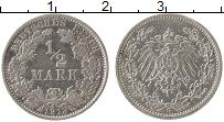 Изображение Монеты Германия 1/2 марки 1913 Серебро XF G
