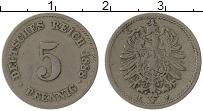 Изображение Монеты Германия 5 пфеннигов 1888 Медно-никель VF F
