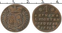 Продать Монеты Вюрцбург 1/4 крейцера 1752 Медь