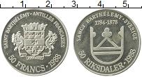 Изображение Монеты Франция Сен-Бартельми 50 франков 1988 Серебро UNC-