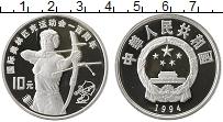 Изображение Монеты Китай 10 юаней 1994 Серебро Proof Олимпийские игры.Стр