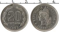 Изображение Монеты Аргентина 20 сентаво 1959 Медно-никель XF