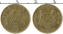 Изображение Монеты Сингапур 5 центов 1995 Латунь XF