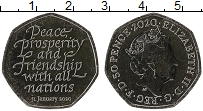 Изображение Мелочь Великобритания 50 пенсов 2020 Медно-никель UNC Брексит 31.01.2020.