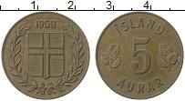 Изображение Монеты Исландия 5 аурар 1958 Медь XF