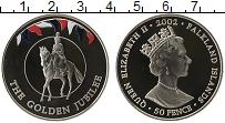 Изображение Монеты Фолклендские острова 50 пенсов 2002 Медно-никель UNC 50 лет правления кор