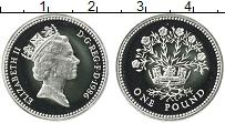Изображение Монеты Великобритания 1 фунт 1986 Серебро Proof Елизавета II. Цветущ