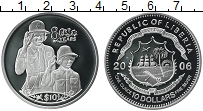 Изображение Монеты Либерия 10 долларов 2006 Серебро Proof 80 лет королеве Елиз