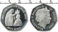 Изображение Монеты Остров Джерси 50 пенсов 2003 Серебро Proof- Елизавета II. 50 лет