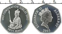 Изображение Монеты Олдерни 50 пенсов 2003 Серебро Proof- Елизавета II. 50 лет