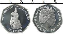 Изображение Монеты Гернси 50 пенсов 2003 Серебро Proof- Елизавета II. 50 лет