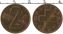 Изображение Монеты Швейцария 2 раппа 1969 Бронза UNC-