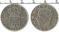 Изображение Монеты Швеция 1 крона 1960 Серебро XF Густав VI Адольф