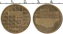 Изображение Монеты Нидерланды 5 гульденов 1988 Латунь XF