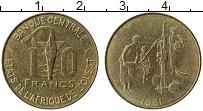 Изображение Монеты Западная Африка 10 франков 1981 Латунь UNC
