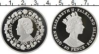 Изображение Монеты Фолклендские острова 50 пенсов 2001 Серебро Proof Елизавета II. 75 лет