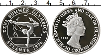 Изображение Монеты Теркc и Кайкос 20 крон 1995 Серебро Proof Елизавета II. XXVI Л
