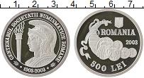 Изображение Монеты Румыния 500 лей 2003 Серебро Proof- 100 лет нумизматичес