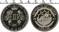 Изображение Монеты Либерия 1 доллар 2001 Медно-никель Proof 75 лет королеве Елиз