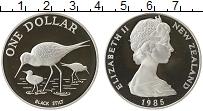 Изображение Монеты Новая Зеландия 1 доллар 1985 Серебро Proof Елизавета II.Черный